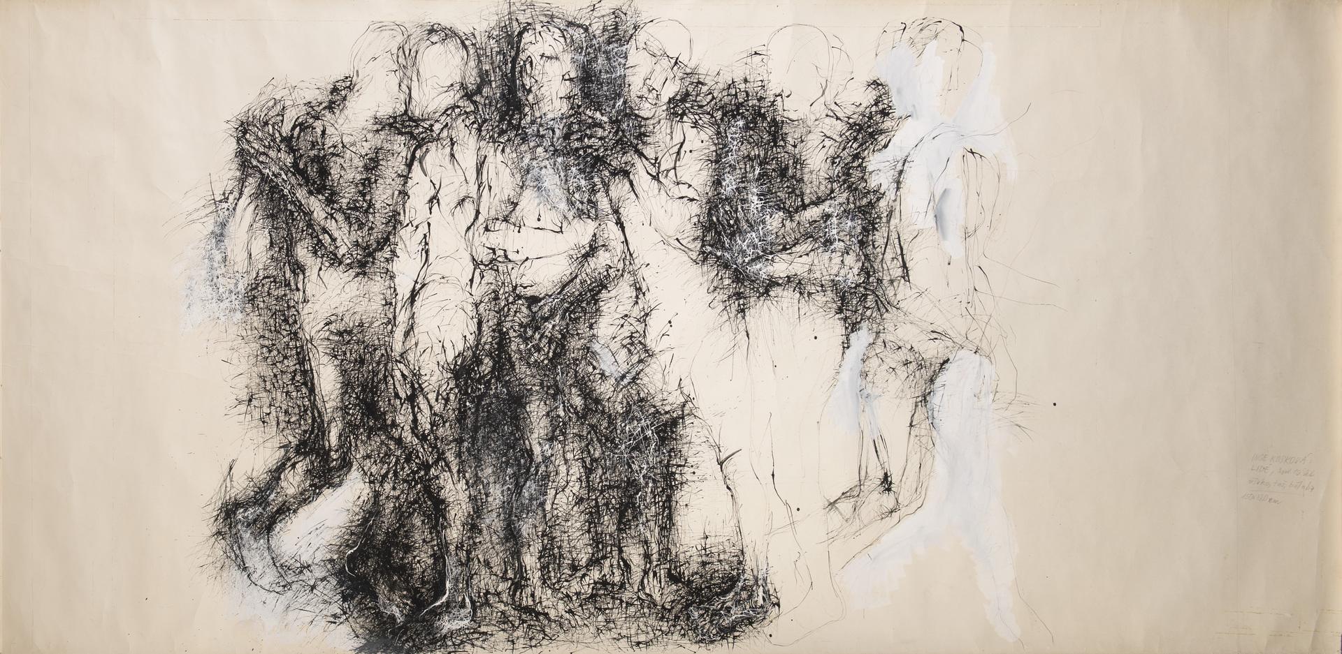 Inge Kosková: Lidé, 1980–85, tuš, běloba, kresba dřívkem na papíru, 150 x 200 cm