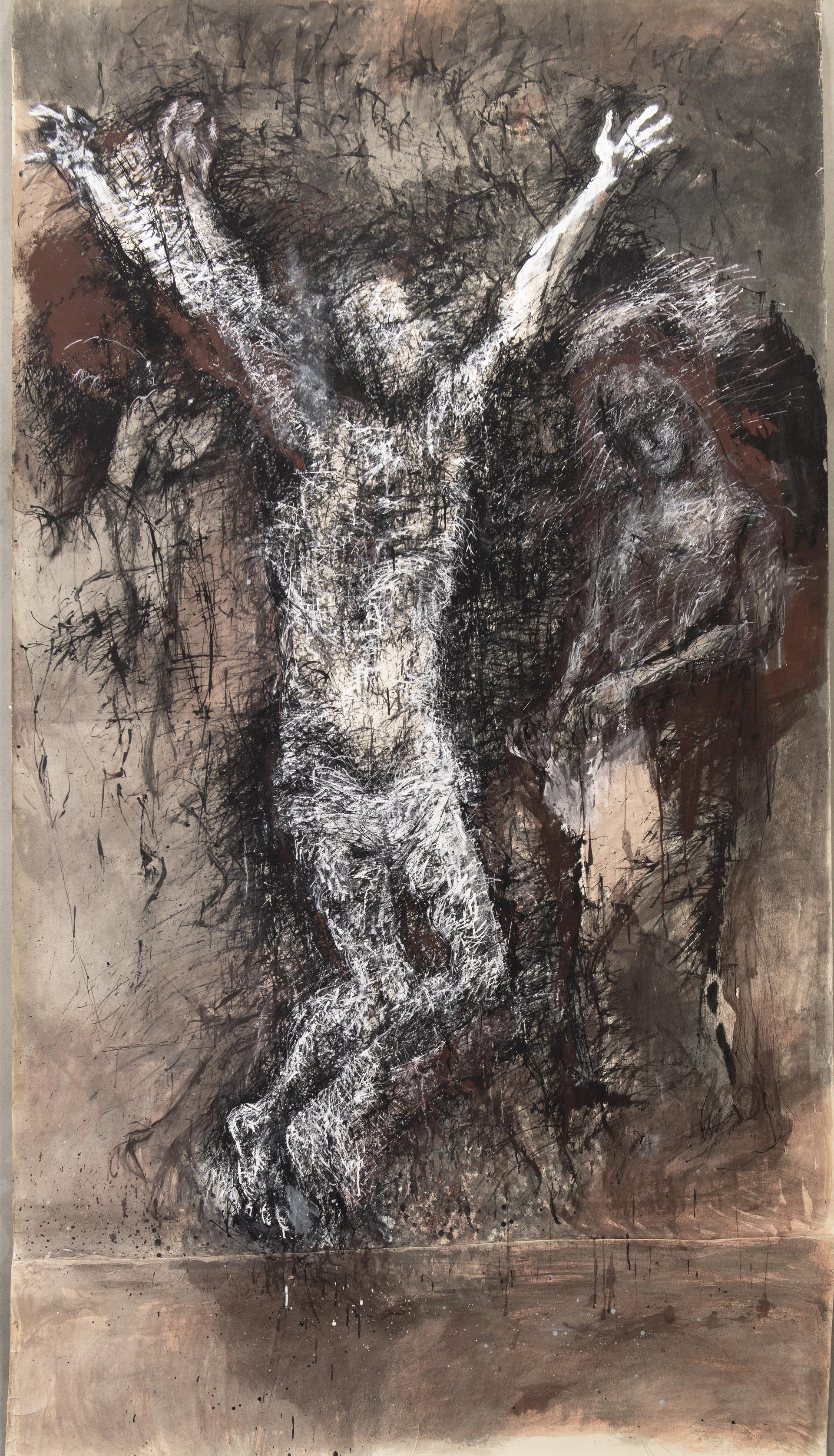 Inge Kosková: Ukřižování, 1980–85, tuš, běloba, tempera, kresba dřívkem a štětcem na papíru, 220 x 150 cm