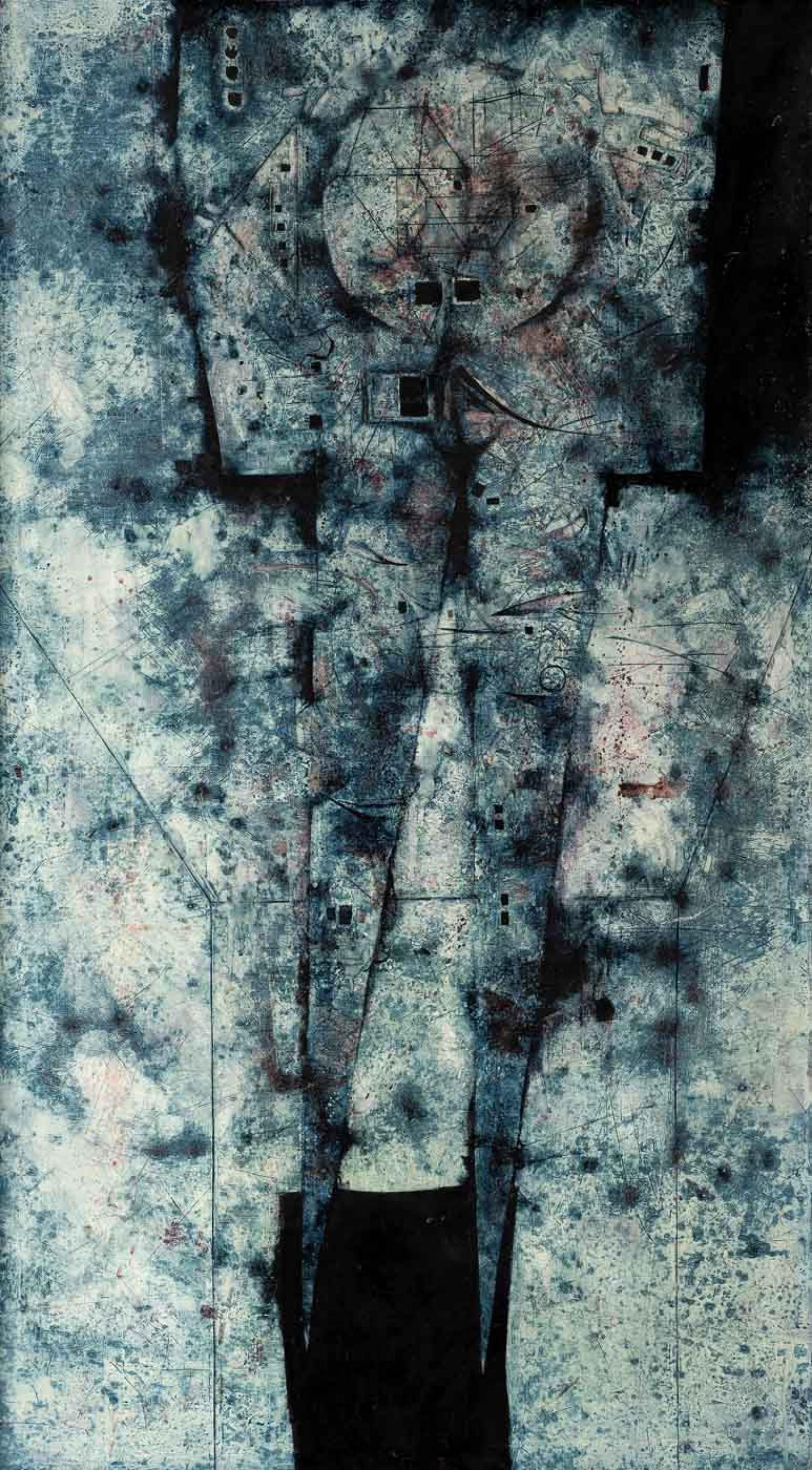 Mikuláš Medek: Příliš mnoho alkoholu II (Vodka), 1965, olej a email na plátně, 149 x 85 cm, cena: 10 800 000 Kč, Galerie Kodl, 1.12. 2019