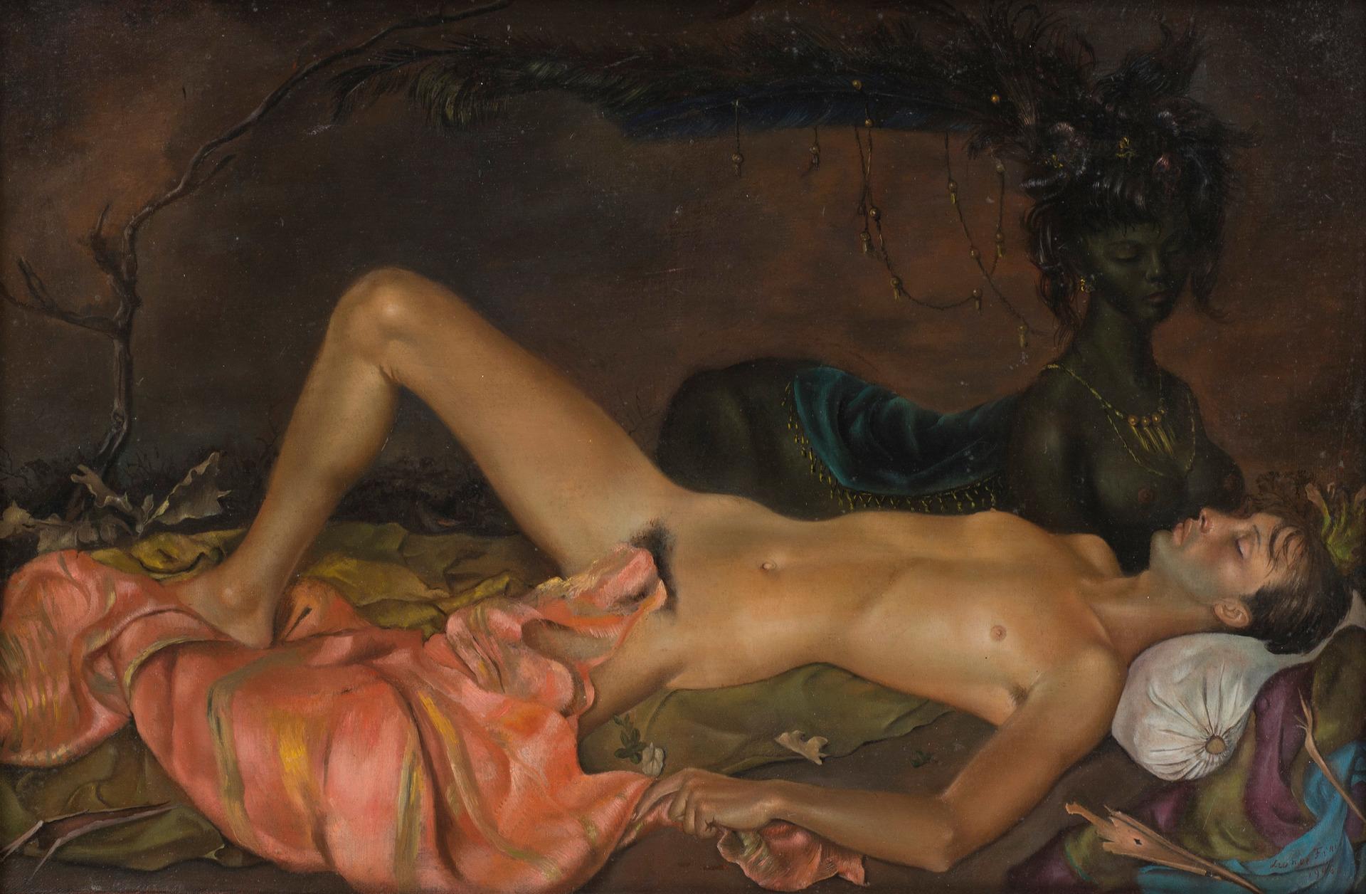 Schirn_Presse_Fantastische_Frauen_Leonor_Fini_Chtonian_Deity_watching_over_the_Sleep_of_a_Young_Man_1946.jpg