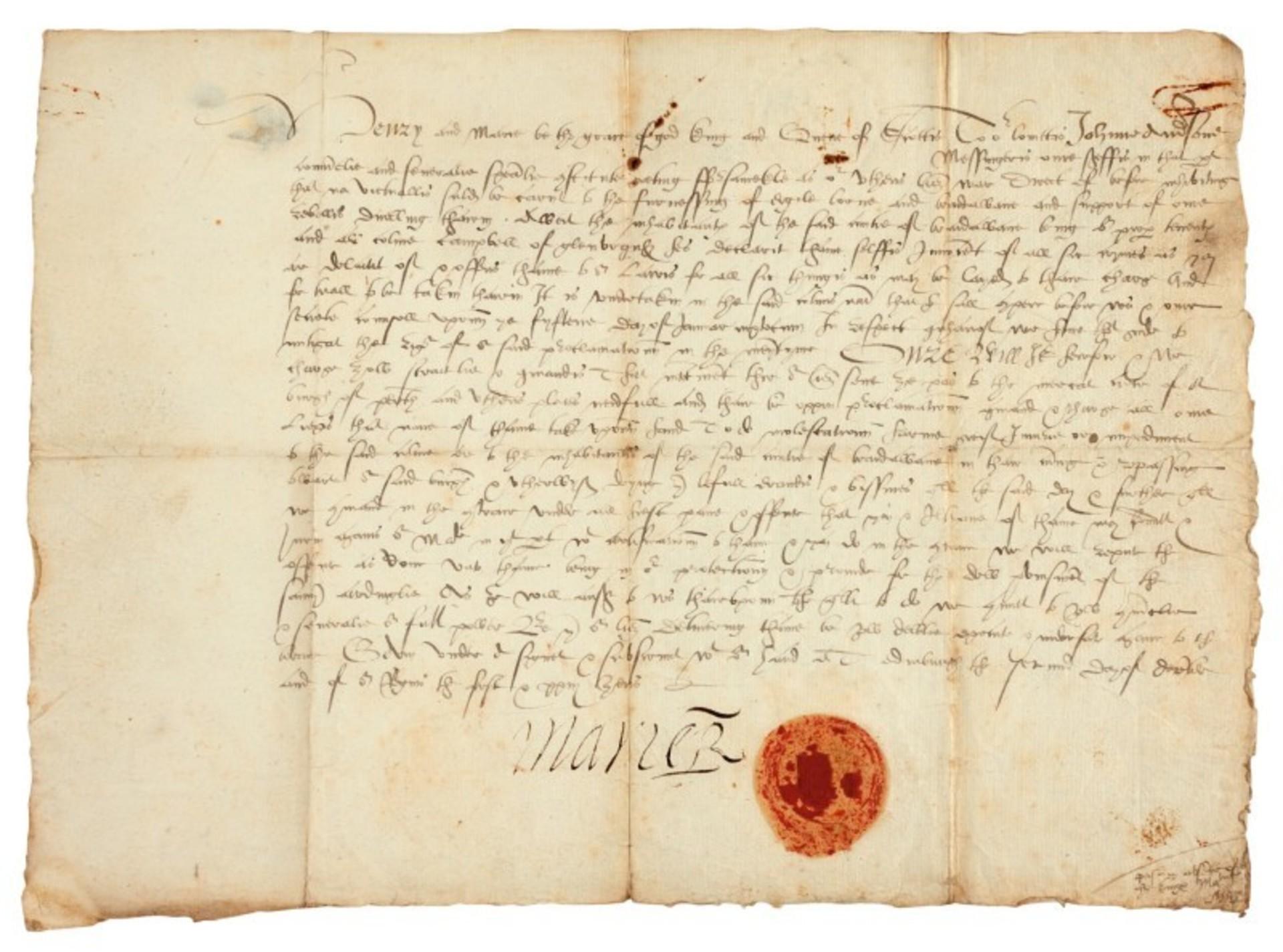 Dopis podepsaný Marií Stuartovnou, královnou Skotů, 1565, cena: 310 000 Kč, Sotheby's Londýn 15. 7. 2020
