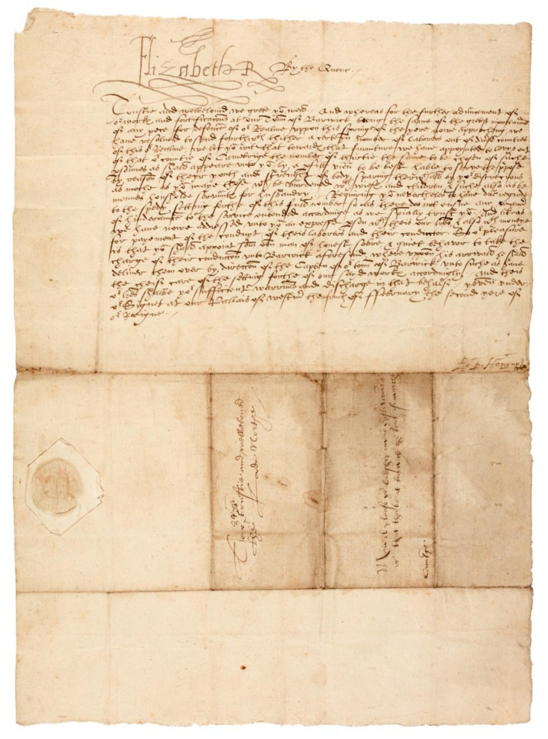 Dopis královny Alžběty I. pro Edwarda Northa, 1560, cena: 730 000 Kč, Sotheby's Londýn 15. 7. 2020