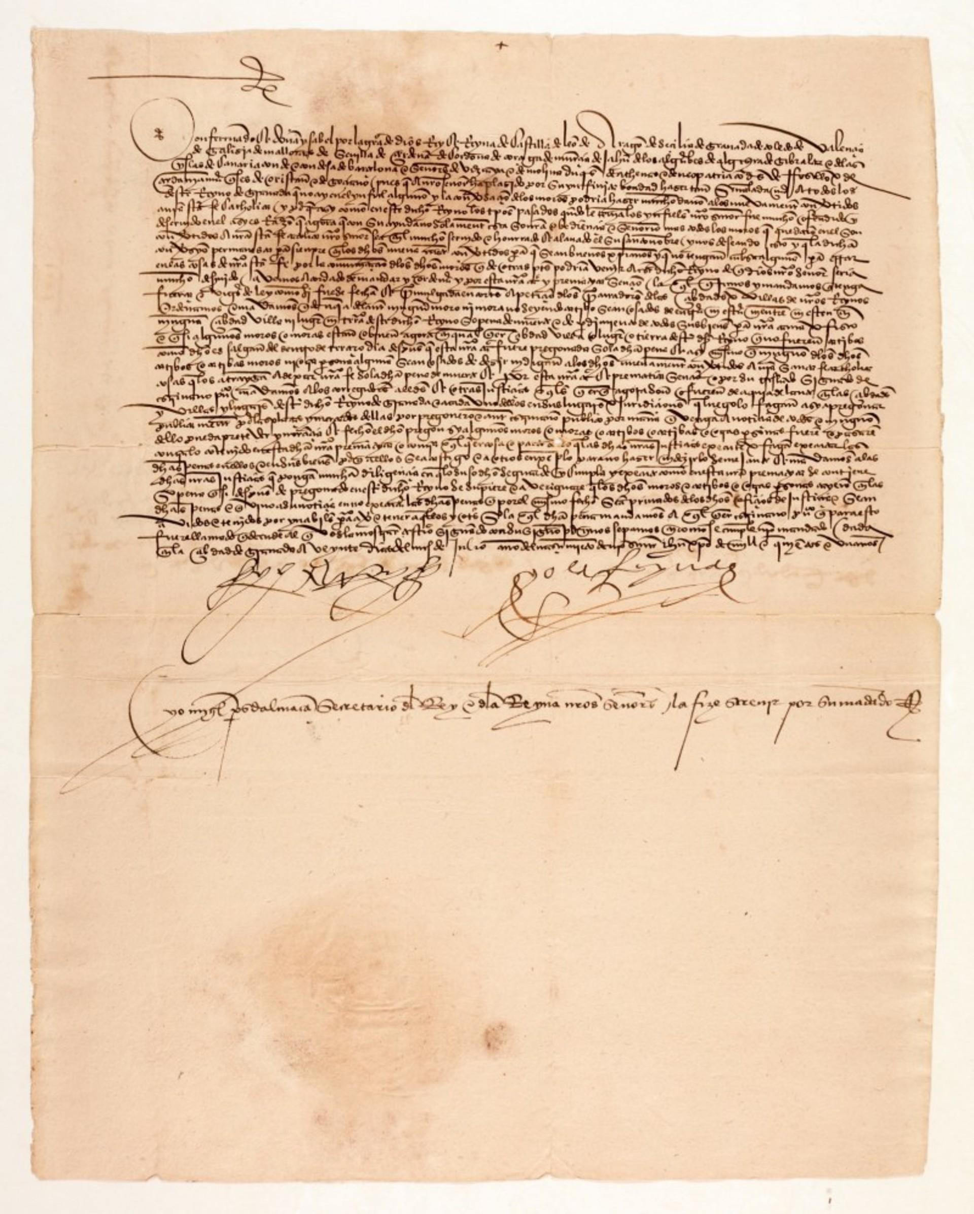 Listina vypovídající musilmy z Granady podepsaná Ferdinandem V. a Isabelou Kastilskou, 1501, cena: 1 600 000 Kč, Sotheby's Londýn 15. 7. 2020