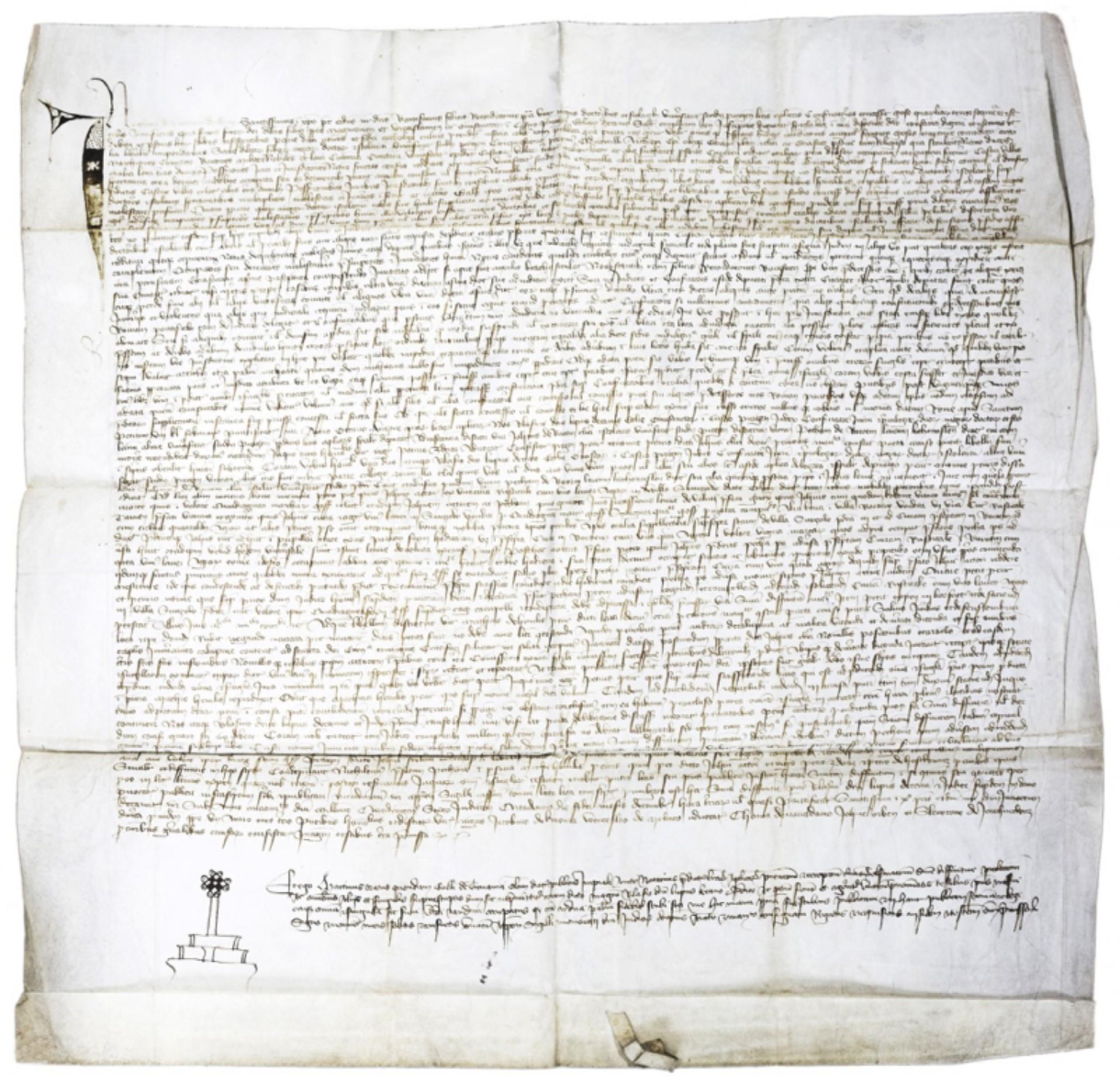 Notářský instrument Martina Havlova z Trnavy, ze dne 2. prosince 1406 , cena: 17 360 000 Kč, 1. Art  Consulting 9. 6. 2019