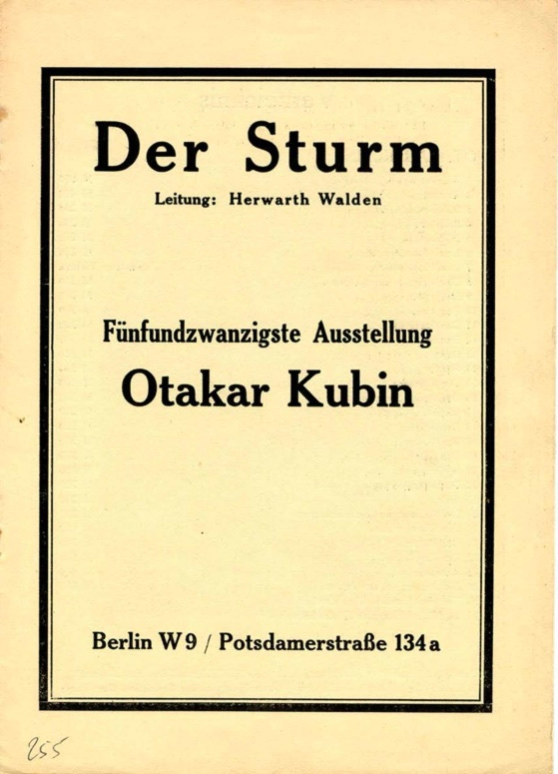 Katalog výstavy Otakara Kubína v galerii Der Sturm v Berlíně, duben 1914, XXV. výstava
