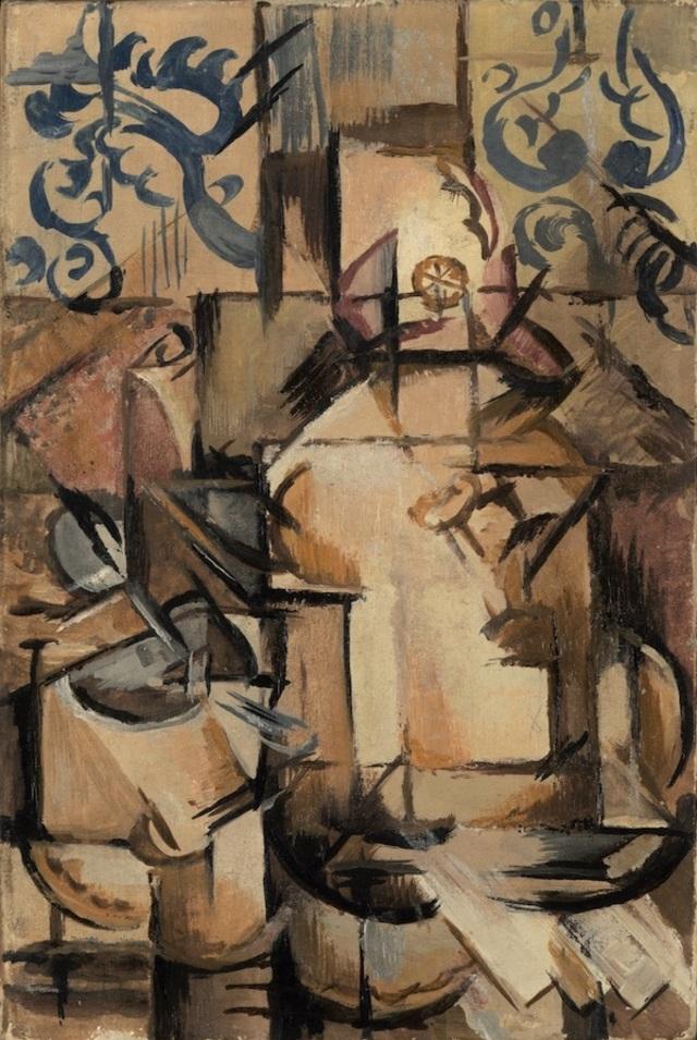 Emil Filla: Kávový servis, 1912, olej na plátně, 27 x 18 cm, vyvolávací cena: 6 500 000 Kč (+ 5% provize), 1. Art Consulting 25. 10. 2020