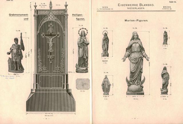 Vzorník blanenské umělecké litiny, 1904, archiv Muzea Blanenska